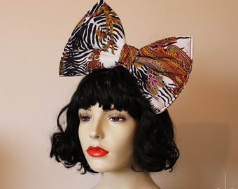 Oversized animal print paisley hippy hair bow 60's 70's style pattern - headband or comb