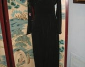 VTG 1940s evening gown hand painted sequined rayon draped swag  M-L