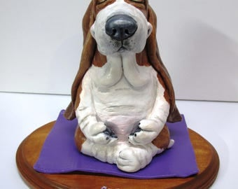 "Basset Hound Sculpture - ""Yogahoundie - Inner Peace"" One-of-a-Kind Piece Handsculpted in Paper Clay"