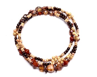 Boho Beaded Necklace, Beaded Necklace, Butterscotch, Camel,  Glass Casual Necklace