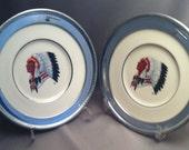 Vintage Lenox Indian Porcelain Plates, Indian Silver Trap Shooting Trophy Plates, 1983 and 1987 Lenox Trap Shooting Trophy Plate, USA ONLY