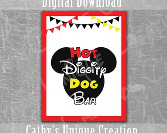 Hot Diggity Dog Bar, Mickey Mouse Clubhouse, Disney, Birthday Party, Ears, Red, Yellow, Black, Theme, Printable, Download, DIY, Sign, Letter
