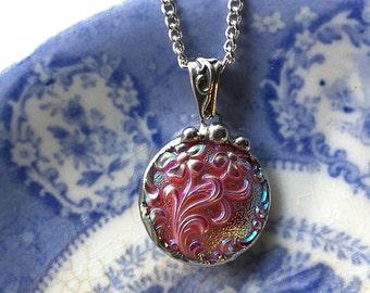Antique button pendant - Bohemian Czech Glass - Art Nouveau flowers - vintage button pendant necklace iridescent pink