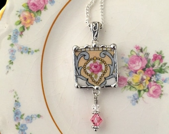 Broken China Jewelry - pendant necklace - antique pink rose with crystal beads, made from a broken china plate