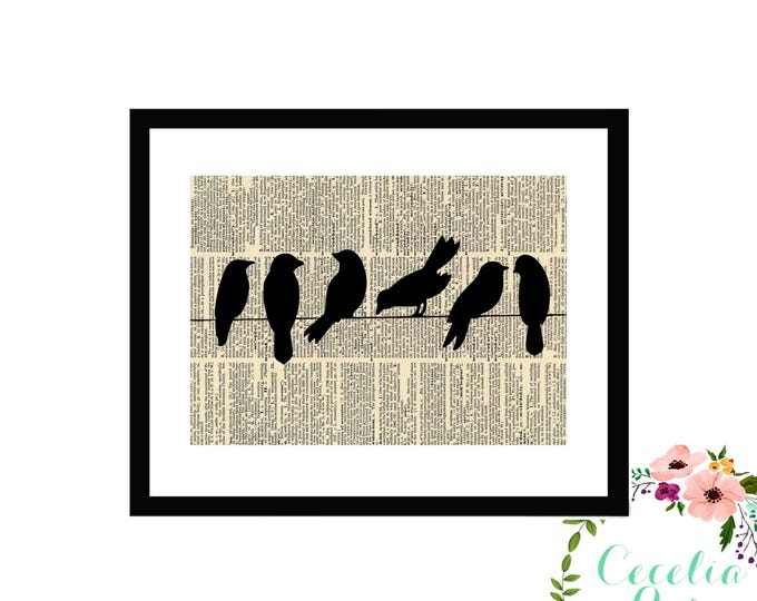 Birds on a Wire Book Art Vintage Book Art Cute Simple Box Frame or Print