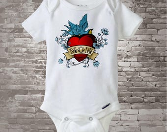 Baby Bodysuit - Boy's Valentine Mom Tattoo Heart Shirt or Onesie bodysuit for baby, Personalized (01182011a1)