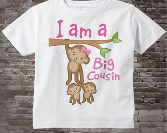 Girl's I Am a Big Cousin of Twins Shirt or Onesie with twin babies, Personalized (07252013a)