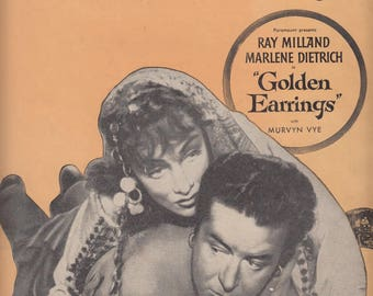 Golden Earrings 1946 Sheet Music Ray Ray Milland Marlene Dietrich Ray Evans Jay Livingtson Victor Young