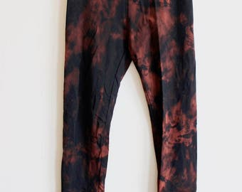 Large Organic Black Brown Tie Dye Leggings