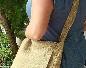 Tapestry Messenger Bag In Khaki With A Cream & Gold Embroidery Detail