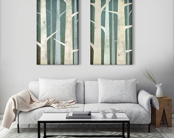 BIRCHES Birch Trees Diptych Stretched Canvas Wall Art Select Your Size 12x20 or 20x32 Pair