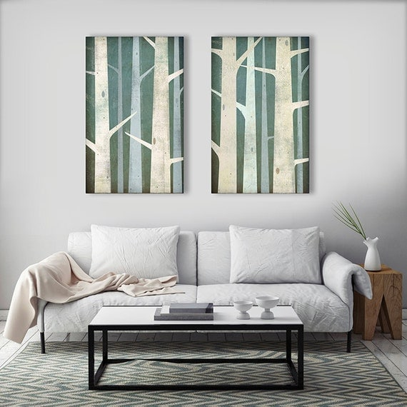 BIRCHES Birch Trees Diptych Stretched Canvas Wall Art 20x32x1.5 EACH Signed