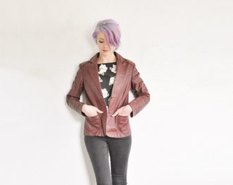 oxblood genuine leather jacket . thick dark red fitted blazer coat .extra small.xs .sale