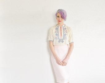 petal pink pencil skirt . palest pastel high waist secretary wear .medium .sale s a l e