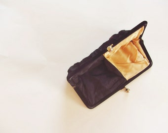 two tone velvet clutch purse . mid century modern gold black evening bag