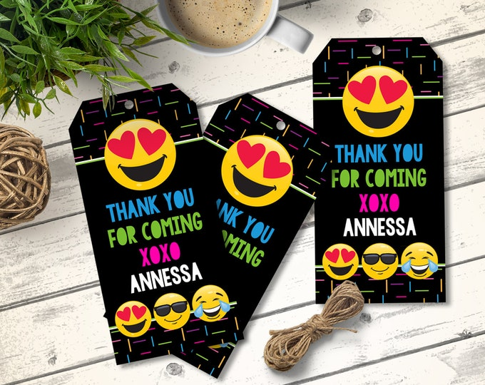 Emoji Party Favor Tag, Thank You Tag - Emoji Birthday, Birthday Party Favors, Emoticon | Editable Text - Instant Download PDF Printable
