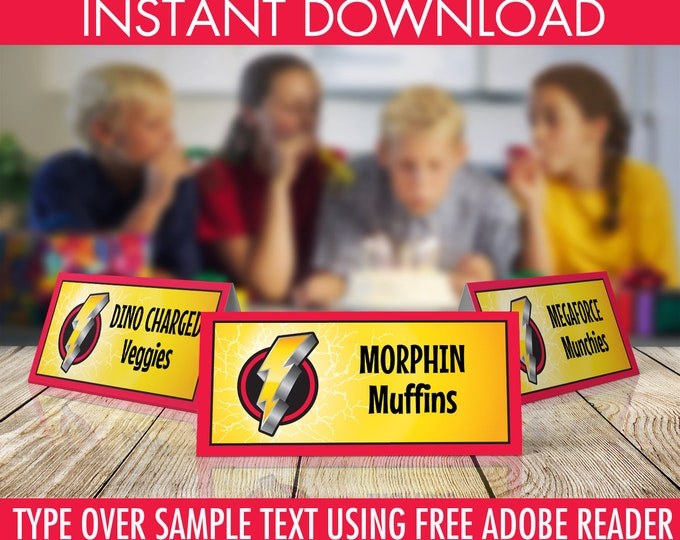 Power Ranger Food Labels - Power Ranger Party, Morphin Time Birthday,  Ranger Party | Editable Text - DIY Instant Download PDF Printable