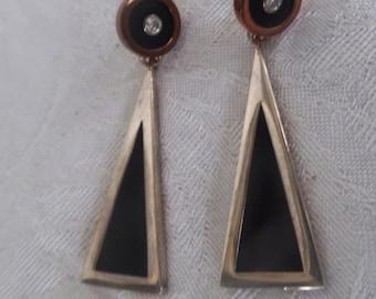 "Vintage Yanvan ""Art Deco"" Inspired Earrings in Sterling Silver and Copper"