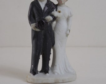 Vintage 1930 Art Deco Bride and Groom Wedding Cake Topper Made in Japan