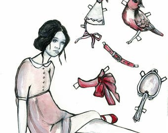 Paper Doll/ Fine Art/ Print From Original Illustration/ Drawing/ Painting
