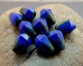 NEW COBALT DROPS .  Czech Picasso Glass Beads . 8 mm by 6 mm (10)