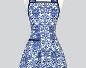 Retro Housewife Apron - Royal Blue Damask Old Fashioned Womens Vintage Inspired Cute Full Kitchen Apron with Pockets