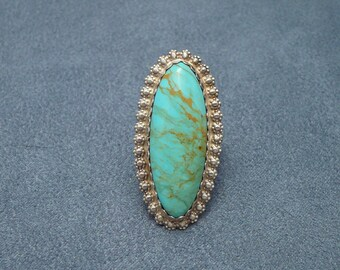 Big Sterling Turquoise Stone Southwestern Ring signed jc