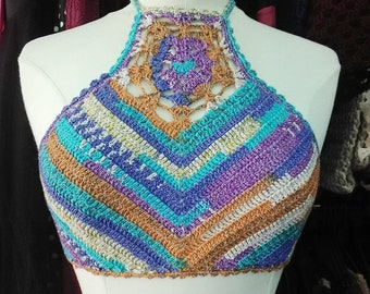 Crochet  top,high neck top festival,tribal style, bohemian,Gypsy,woodland,handmade , ready to ship