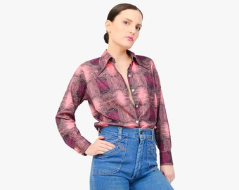 Vintage 70s Abstract Print Blouse - Psychedelic Top - Collared Button Up Long Sleeve Shirt - Groovy Disco Shirt Pink Purple Gray - Large L