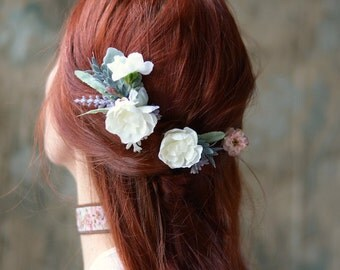 Flower clip set, ivory floral pins, pastel flower hair pins, bridal hair pins, wedding hair clips, blush flower clip, leaf bobby pins,