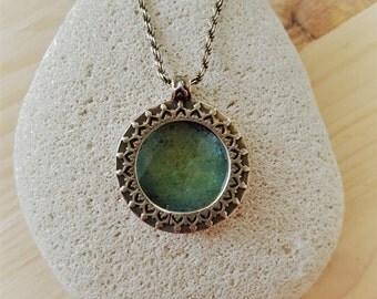 New Listing Sale... Stunning Byzantine Gold Wash Sterling Silver Roman Glass Necklace. Israel Jewelry. Holy Land Jewelry. Roman Glass 925