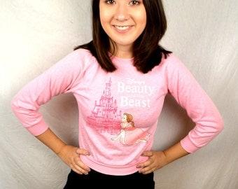 Vintage 80s 90s Girl's Belle - Beauty and the Beast Pink Sweatshirt