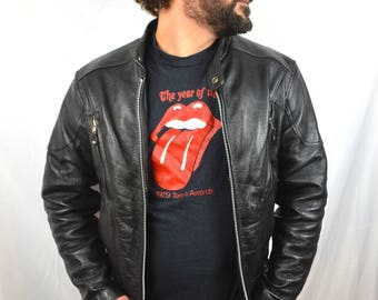Vintage 1990s Wilson Motorcycle Open Road Black Rocker Leather Jacket