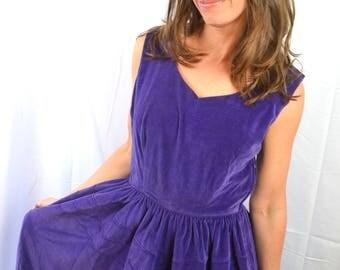 Vintage Purple Velvet 60s Maxi Dress - Shirley Lee Junior Petite.