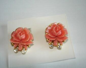 Orange Flower Dangle Clip  Back Earrings Clear Rhinestone Gold Tone
