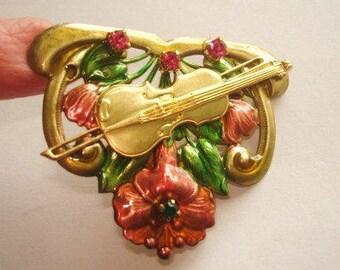 Violin Rhinestone Flower Brooch Multi Tone