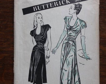 Butterick 3789 Sewing Pattern Dinner and Day Dress 1940s Size 18 VINTAGE by Plantdreaming