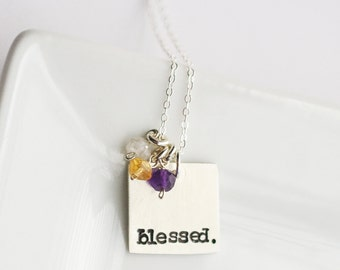 Custom Mothers Day Jewelry - Mothers Day Gift Ideas - Blessed Necklace - Unique Gift for Mom - Mothers Birthstone Silver Necklace