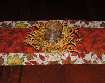"42"" Autumn Leaves Motif Thanksgiving Table Runner in earth tone colors of burnt sienna, cream and brown"