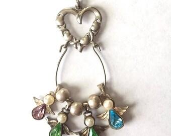Vintage - Sterling Silver Heart-Angel-Birthstone-Pendant-Topaz-Pearl-Peridot-Amethyst