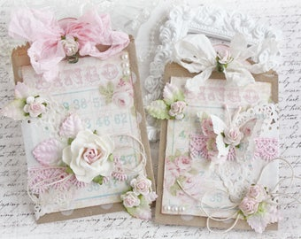 Shabby Chic Bingo Tag and Paper Bag Scrapbook Embellishment or Card