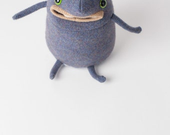 Hans Heinz the sweater monster plush monster stuffy made from upcycled wool sweaters ugly doll