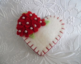 Red Felt Flower Brooch Heart Beaded Flowers Valentines Day