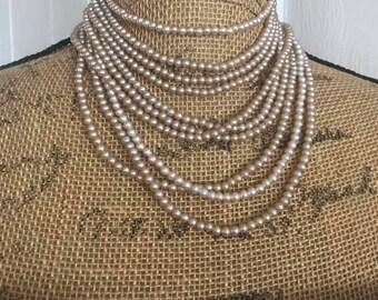 Vintage 1950's 1960's era 10 strand pearl choker necklace -- Oh La La Glamorous
