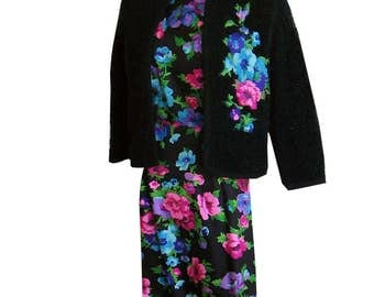 Vintage 50s Silk Floral Wiggle Dress & Appliqued Boucle Sweater Set 34 bust Tabak of California