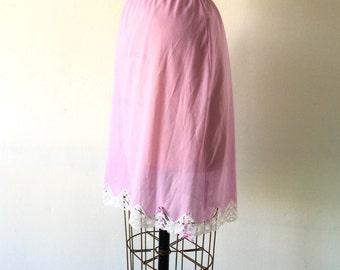1960s Vintage Half Slip Skirt Mauve Pink White Lace Trim Ribbon Bows S