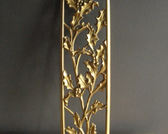 Golden Holly - Vintage Wall Art - Wall Decor - Wall Panel - Christmas Gold Dart Wall Plaque Holly and Berries
