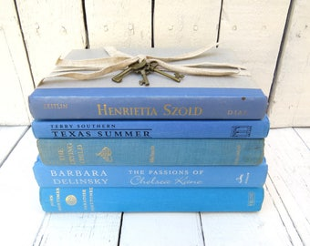 Blue and Aqua Books, Vintage Books, Old Blue Books, Decor Books, Antique Books, Home Office Decor, Instant Library, Shabby Cottage Chic