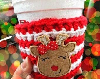crochet coffee cozy, reindeer crochet cozy, coffee sleeve,teacher gift, winter fall coffee cozy, Christmas cozy gift, stocking stuffer