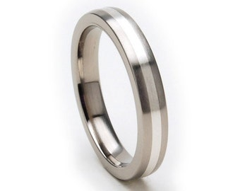 New 3mm Titanium Ring, Sterling Silver Inlay, Free Jewelry Sizing 4-17: 3HR11GBR-SSINLAY